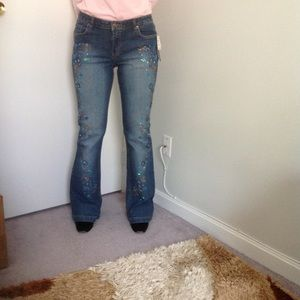Willi Smith Beaded Blue Flare Jeans NWT ~ size 8